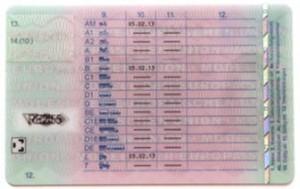 Die Rückseite des Führerscheines.
